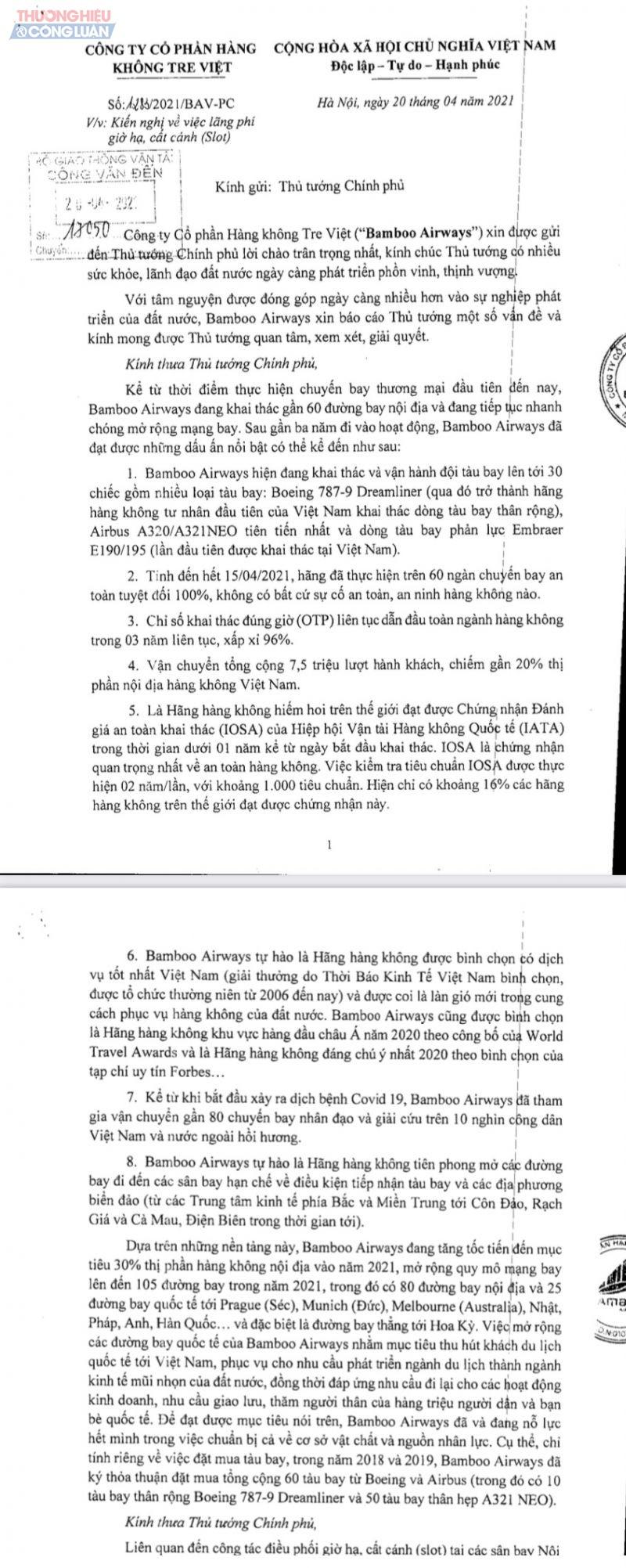 Trong văn bản ngày 20.4 gửi lên Thủ tướng, Bamboo tố Cục Hàng không để lãng phí 30 slot/ngày tại Nội Bài và Tân Sơn Nhất