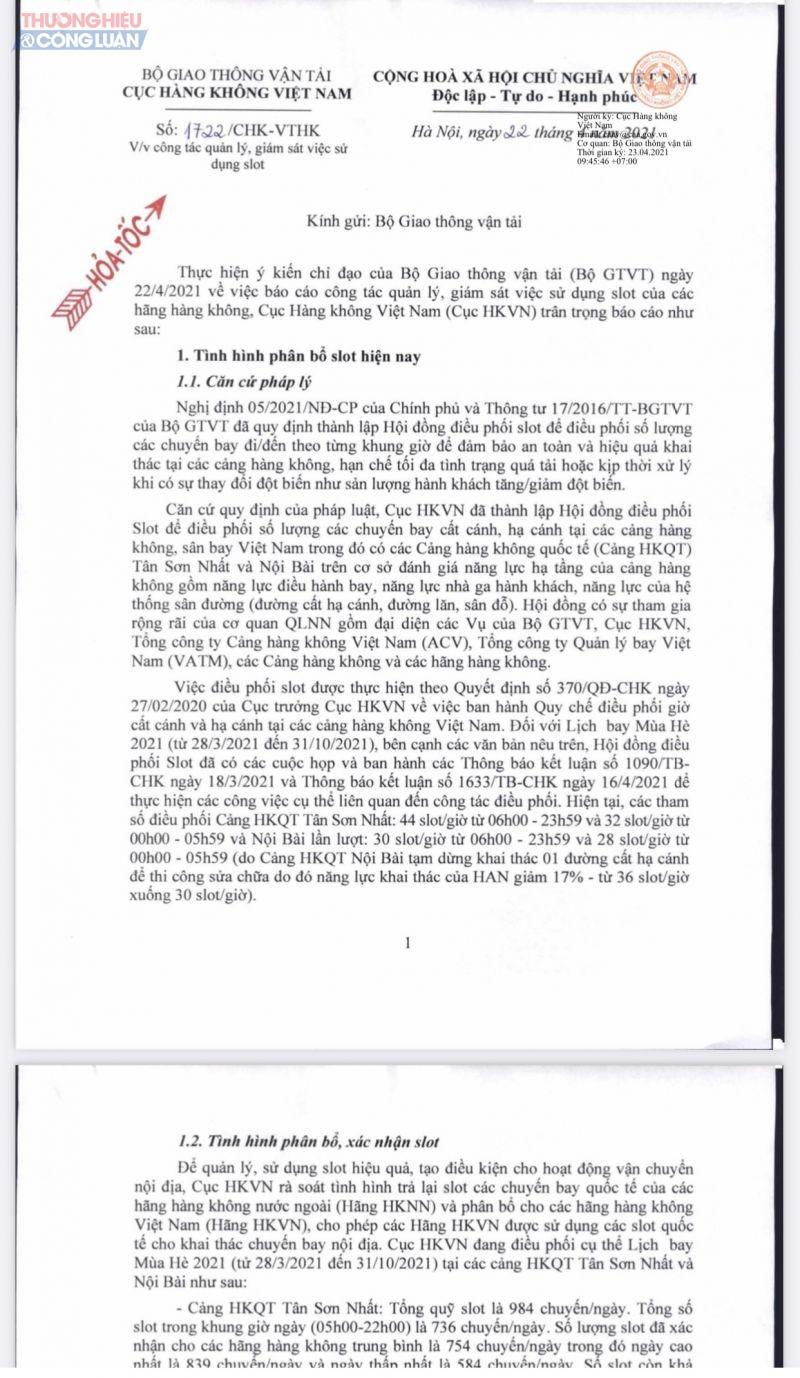 ngày 22.4, Cục hàng không đã có văn bản báo cáo Bộ GTVT, cho thấy vấn đề và số liệu mà Bamboo nêu là không chính xác.