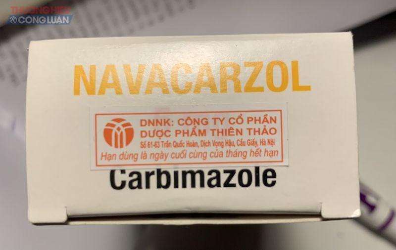 Tem của Công ty Cổ phần Dược phẩm Thiên Thảo được dán trên bao bì