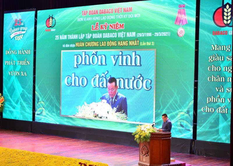 Chủ tịch HĐQT Tập đoàn DABACO phát biểu tại lễ kỷ niệm