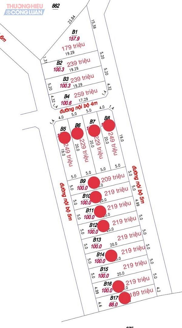 Những thửa đất được Công ty Tiên Phong đánh số, ghi giá và mang ra rao bán