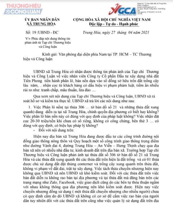 Một phần Văn bản số 19/UBND – ĐC của UBND xã Trung Hòa