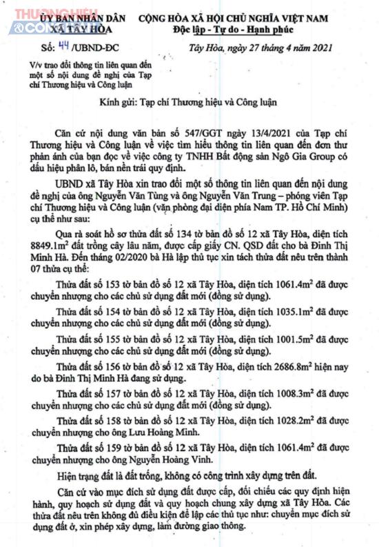 Văn bản số 44 của UBND xã Tây Hòa