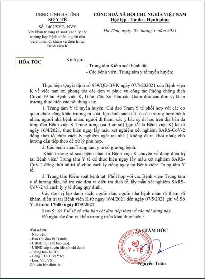 văn bản hỏa tốc gửi Trung tâm Kiểm soát bệnh tật Hà Tĩnh, các bệnh viện, trung tâm y tế tuyến các huyện