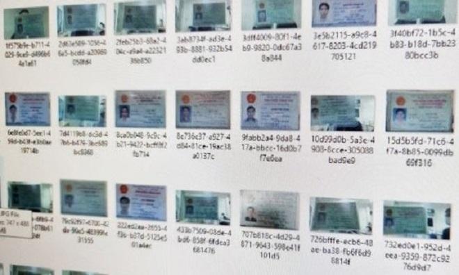 Hình ảnh hàng nghìn CMND của người Việt Nam bị rao bán trên mạng. (Ảnh chụp màn hình)