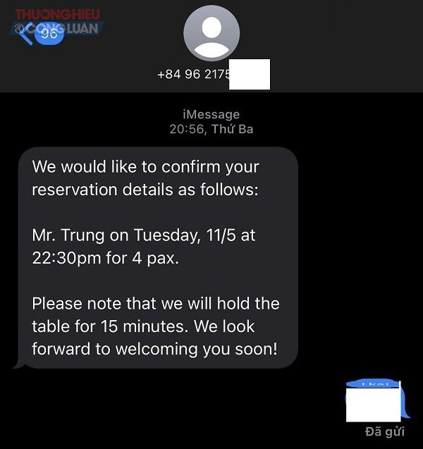 Tin nhắn xác nhận việc đặt bàn