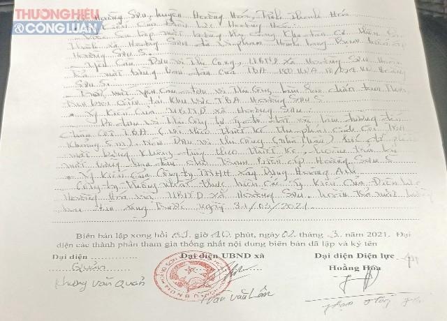 Ngày 02-03 điện lực huyện Hoằng Hóa đã lập biên bản vi phạm hành lang Trạm biến áp đối với UBND xã Hoằng Sơn