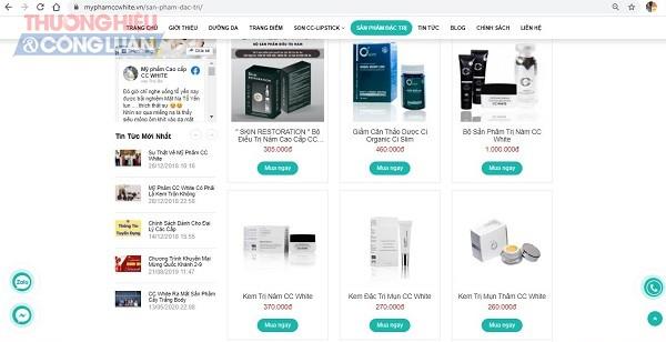 Website https://myphamccwhite.vn quảng cáo các sản phẩm mỹ phẩm CC.White có công dụng như là thuốc chữa bệnh