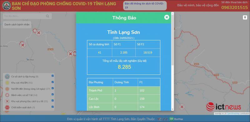 Lạng Sơn: Ra mắt bản đồ Covid-19 theo dõi tình hình dịch Covid-19 theo thời gian thực
