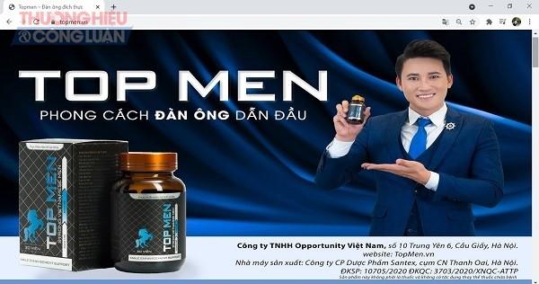 """Sản phẩm TPBVSK TOP MEN được quảng cáo, giới thiệu như một giải pháp """"phát minh mới cho phong cách đàn ông dẫn đầu""""."""