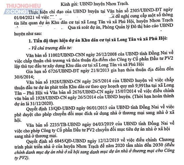 Một phần văn bản của UBND huyện Nhơn Trạch (Đồng Nai) gửi cơ quan báo chí.