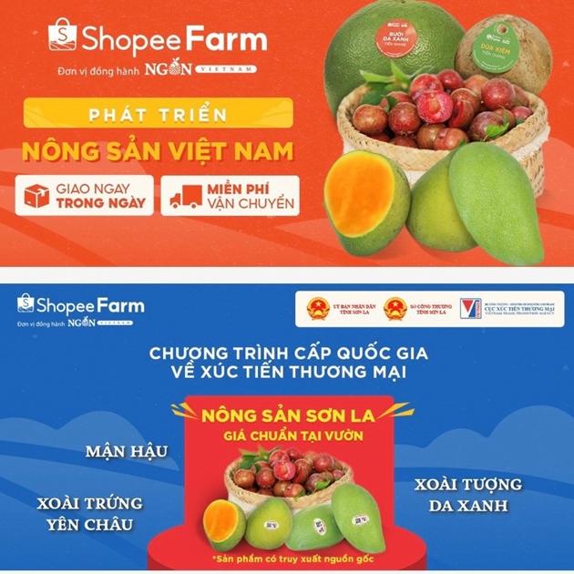 Mận hậu và xoài tròn Yên Châu của Sơn La chính thức lên sàn thương mại điện tử Shopee