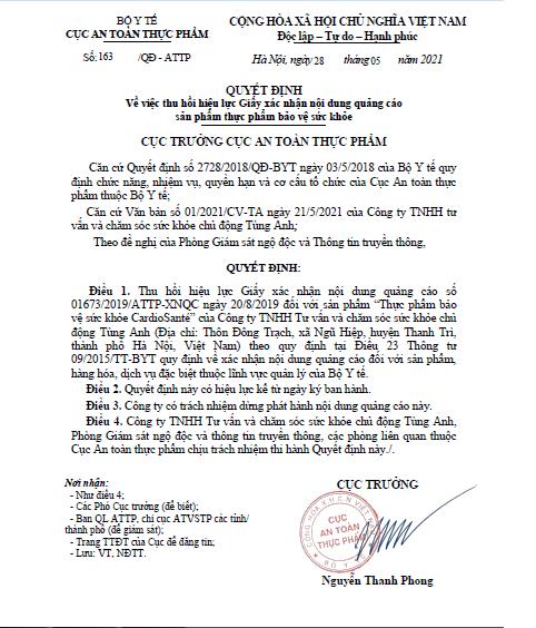 Quyết định thu hồi Giấy xác nhận nội dung quảng cáo sản phẩm TPBVSK Cardio Santé