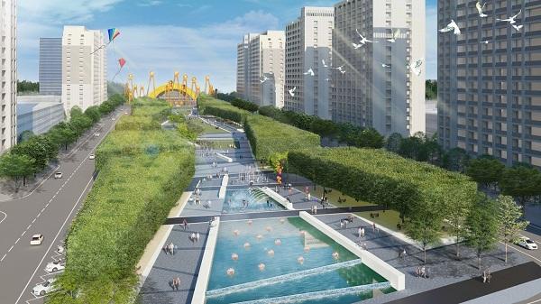 Trục đại lộ trung tâm tại Sun Grand Boulevard hứa hẹn trở thành khu vực sầm uất, thời thượng bậc nhất xứ Thanh