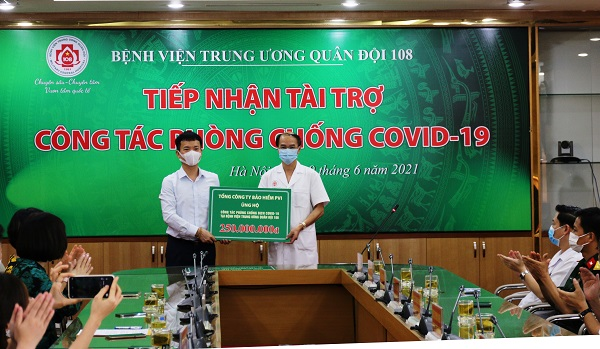 Bảo hiểm PVI ủng hộ chương trình phòng chống Covid-19 tại Bệnh viện Trung ương Quân đội 108