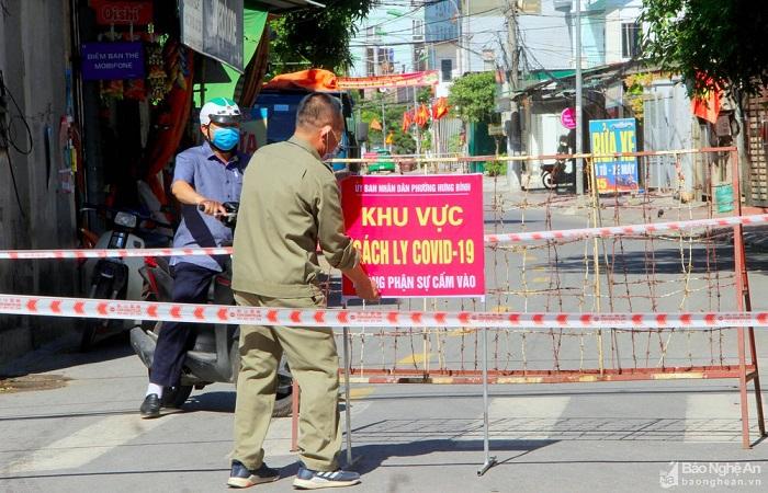 Một khu vực được phong tỏa tại phường Hưng bình, Tp. Vinh (Nghệ An)
