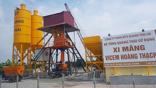 Trạm bê tông Quang Thái xây dựng khi chưa được cơ quan chức năng có thẩm quyền cho phép