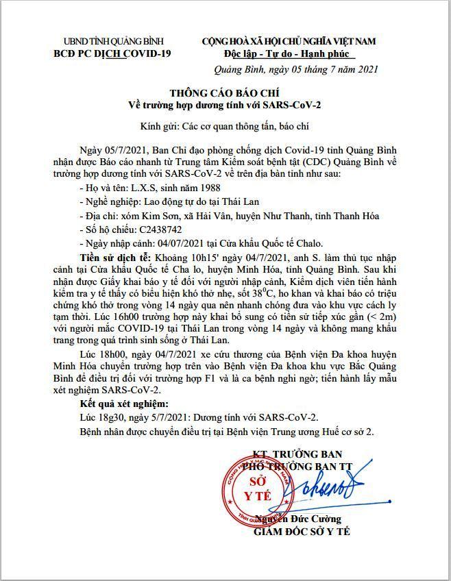 hông cáo báo chí của Ban Chỉ đạo phòng, chống dịch Covid-19 tỉnh Quảng Bình về trường hợp dương tính với SARS-Cov-2.