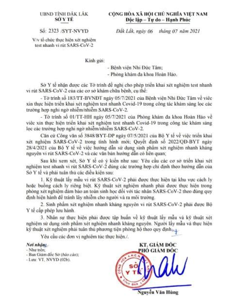 Văn bản đồng ý của Sở Y tế tỉnh Đắk Lắk