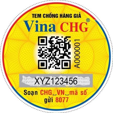 Mẫu tem chống hàng giả có mã QR Code kết hợp SMS dán lên sản phẩm tích hợp với phần mềm Vinacheck+.