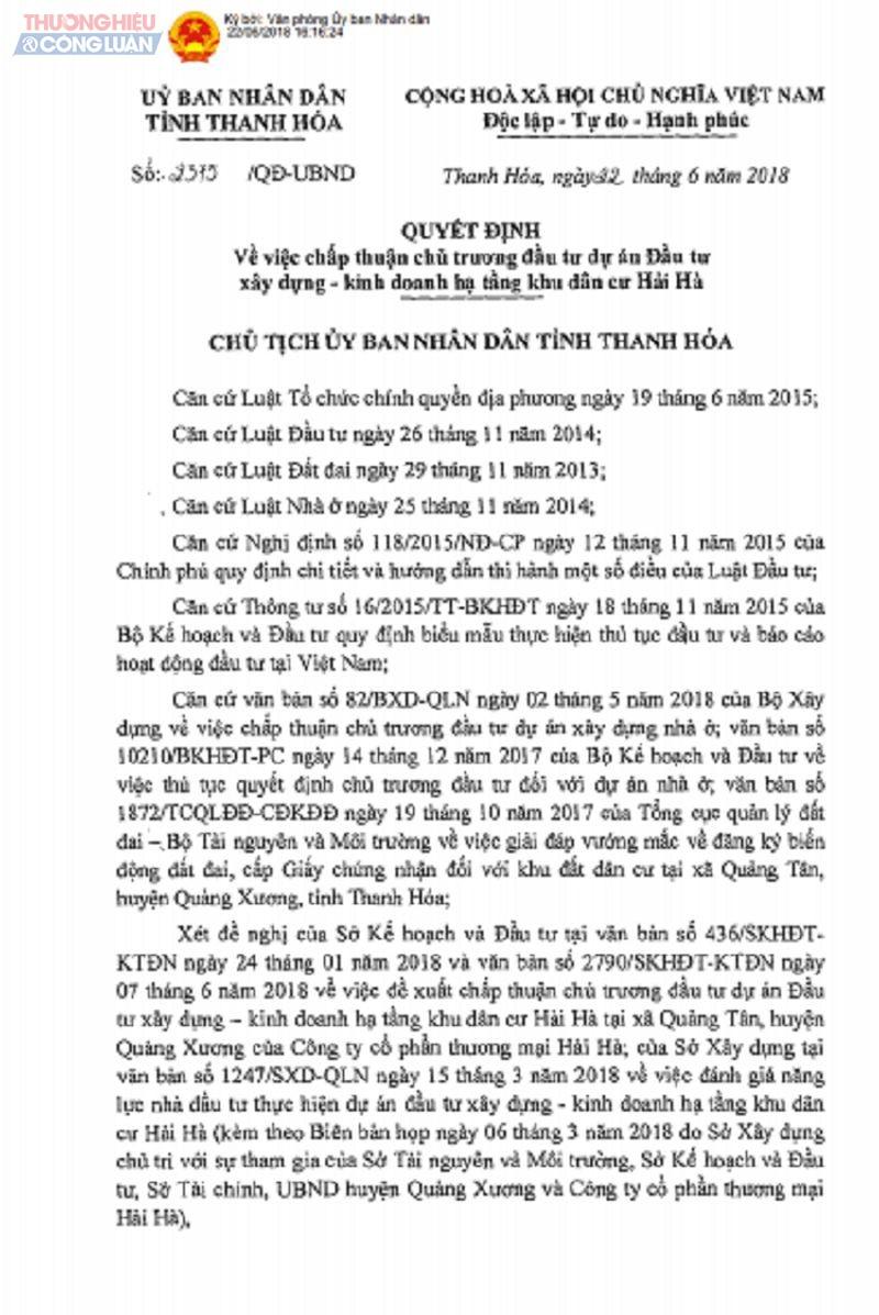 Nguồn gốc, hiện trạng khu đất thực hiện dự án khu dân cư Hải Hà được nêu rõ trong Quyết định 2375/QĐ-UBND tỉnh Thanh Hóa.