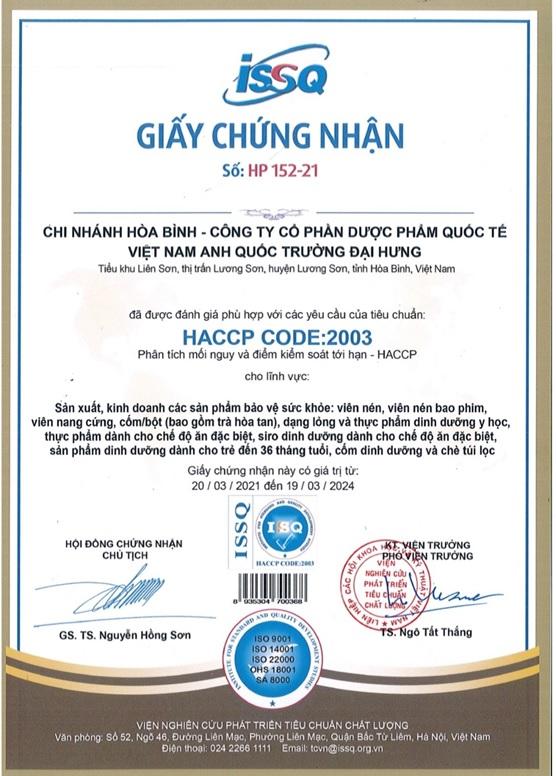 Chứng nhận nhà máy đạt chuẩn chất lượng HACCP do Tổng cục tiêu chuẩn đo lường chất lượng - Bộ Khoa học và Công nghệ cấp