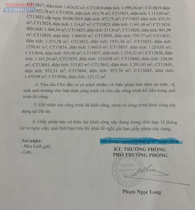 dự án HarboBay được cấp giấy phép xây dựng số 144/ GPXD, do ông Phạm Ngọc Long, Phó Phòng quản lý đô thị, UBND TP Hạ Long ký và đóng dấu cấp phép ngày 28/6/2019.