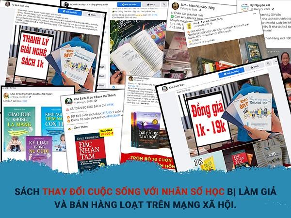 """Sách giả, sách lậu ngang nhiên rao bán trên các trang mạng xã hội, sàn thương mại điện tử với giá """"bèo""""."""