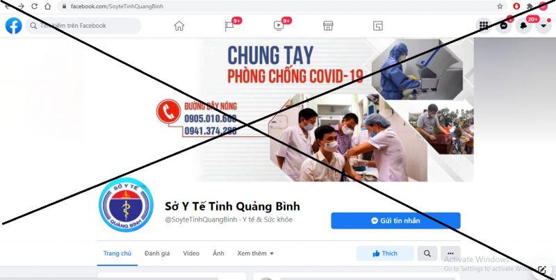 """Trang Fanpage """"Sở Y tế tỉnh Quảng Bình"""" là giả mạo."""