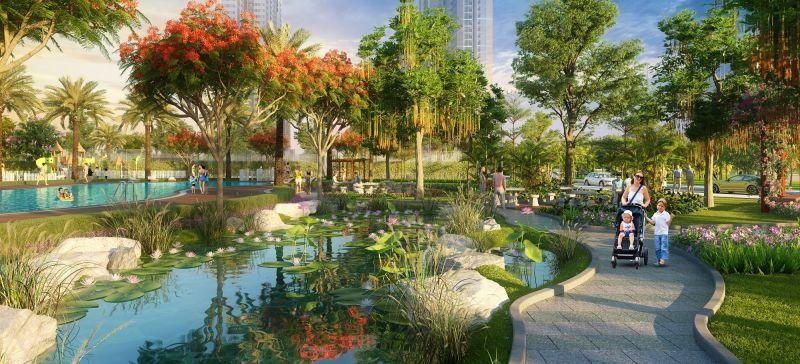 Không gian sống xanh, yên bình tại dự án được khách hàng yêu thích