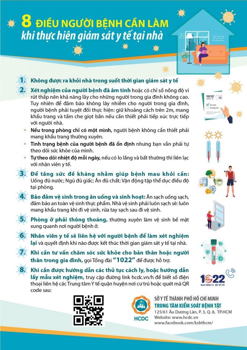 8 điều người bệnh cần làm khi thực hiện giám sát y tế tại nhà. Ảnh: HCDC