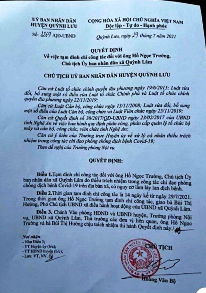 """quyết định số 1269/QĐ-UBND """"Về việc tạm đình chỉ công tác đối với ông Hồ Ngọc Trường – Chủ tịch UBND xã Quỳnh Lâm"""" vì thiếu trách nhiệm trong công tác phòng chống dịch bệnh"""