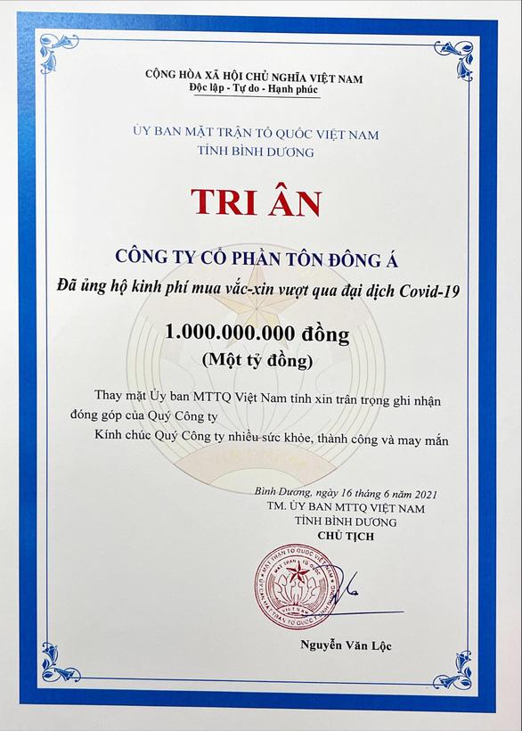 Thư cám ơn của UB MTTQ VN tỉnh Bình Dương ghi nhận tấm lòng của CBCNV Công ty Tôn Đông Á