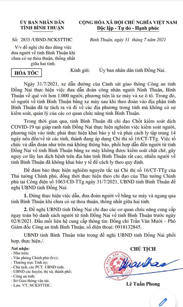 Văn bản hỏa tốc của Bình Thuận gửi Đồng Nai
