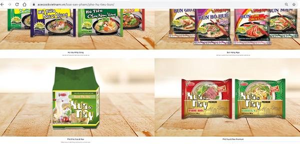 Hiện nay Công ty cổ phần Acecook đang đưa ra thị trường tại Việt Nam đang đưa ra nhiều dòng sản phẩm như mì, miến, phở, hủ tiếu, bún,..