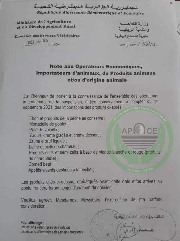 Bản sao công văn của Bộ Nông nghiệp và Phát triển Nông thôn Algeria