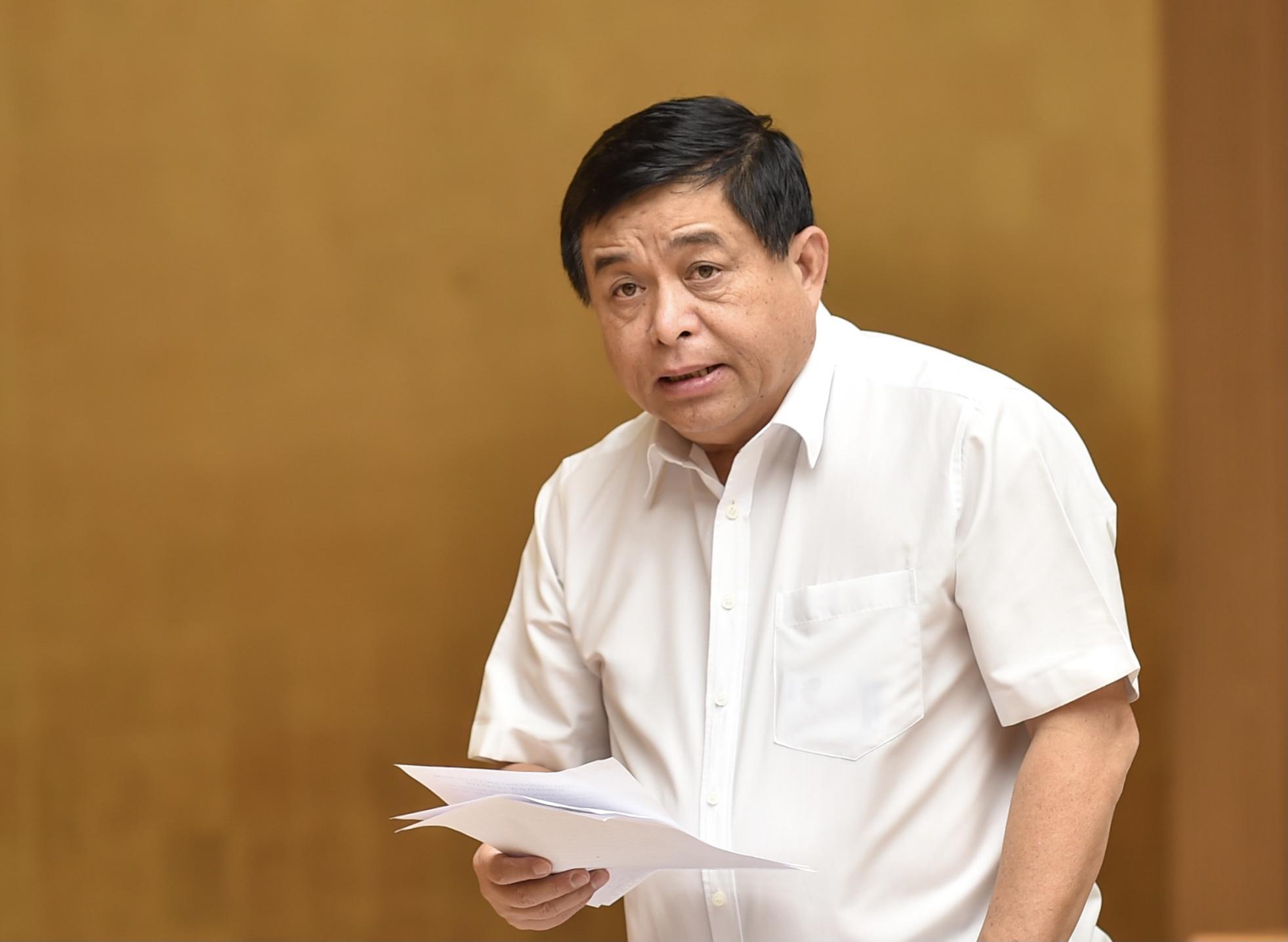 Bộ trưởng Bộ Kế hoạch và Đầu tư Nguyễn Chí Dũng phát biểu tại cuộc làm việc - Ảnh: VGP/Nhật Bắc