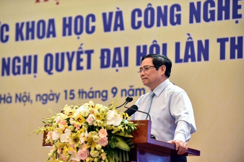 Thủ tướng Phạm Minh Chính: Chúng ta phải có nhận thức mới, tư duy khoa học mới gắn với những giải pháp thiết thực, hiệu quả để đưa chủ trương, đường lối của Đảng vào thực tiễn đời sống - Ảnh: VGP/Nhật Bắc