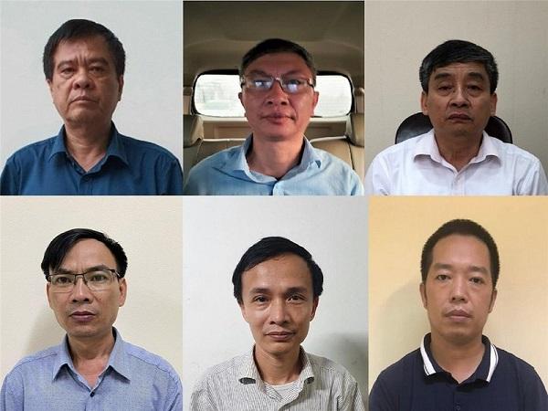 Ông Nguyễn Văn Kiên, Giám đốc Sở Giáo dục và Đào tạo Điện Biên Điện Biên (góc trái trên cùng) và các bị can bị khởi tố, bắt tạm giam (Ảnh Bộ Công an)