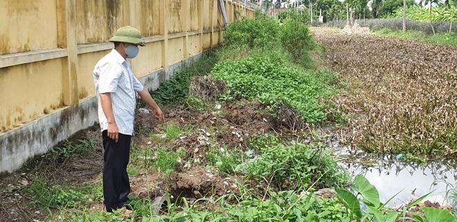 Người dân xóm 9, xã Hải Sơn búc xúc vì Trung tâm giống gia súc, gia cầm Nam Định xả thải trực tiếp ra sông cấp 3