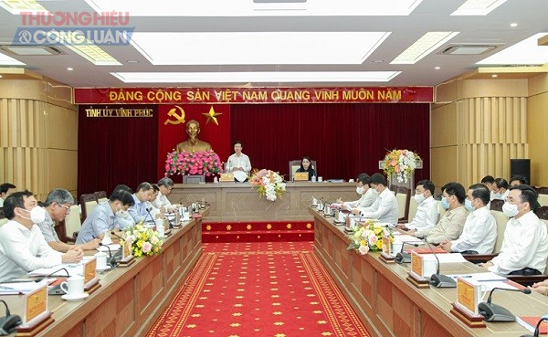 Đồng chí Võ Văn Thưởng phát biểu tại buổi làm việc với Tỉnh ủy Vĩnh Phúc.