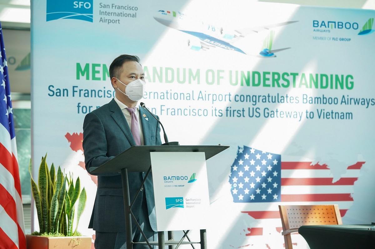 Ông Đặng Tất Thắng, Tổng Giám đốc Bamboo Airways phát biểu trong khuôn khổ sự kiện