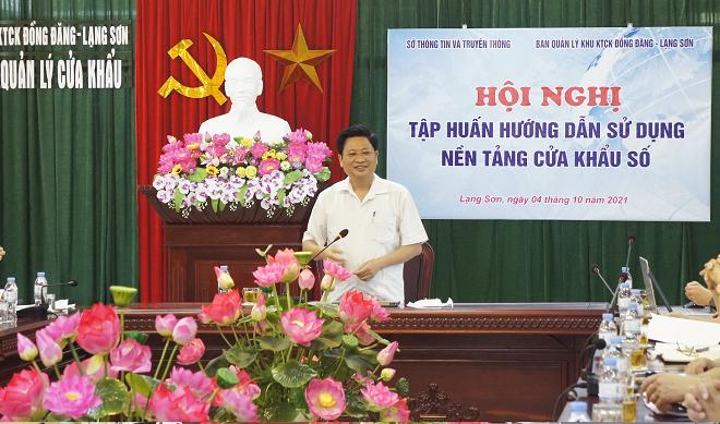 Đồng chí Nguyễn Khắc Lịch, Giám đốc Sở TTTT dự và phát biểu chỉ đạo tại Hội nghị.