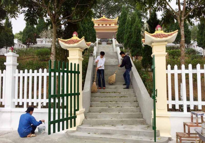 """Di tích Quốc gia """"Địa điểm thành lập và đóng quân của Trường Chính trị Trung cấp Quân đội nhân dân Việt Nam (1951 – 1953)"""" đang được chỉnh trang, tu sửa."""