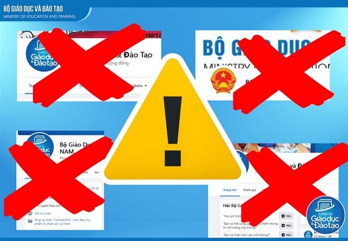 Cảnh báo các fanpage giả mạo Bộ GD&ĐT. (Ảnh: Bộ GD&ĐT)