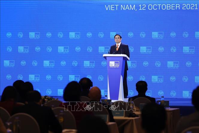 Thủ tướng Phạm Minh Chính phát biểu tại Triển lãm Thế giới số năm 2021. Ảnh: Dương Giang/TTXVN